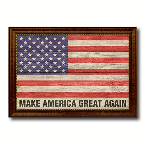 Make America Great Again USA Flag Texture Canvas Print Brown Picture Frame Home Decor Wall Art Decoration Gift Ideas Signs - America Make Great Frame Again