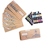 Cash Envelope System for Budgeting and Saving Money by Scrawls Art, 12 Pack - Assorted Designs (Brown Kraft Paper) and Stickers