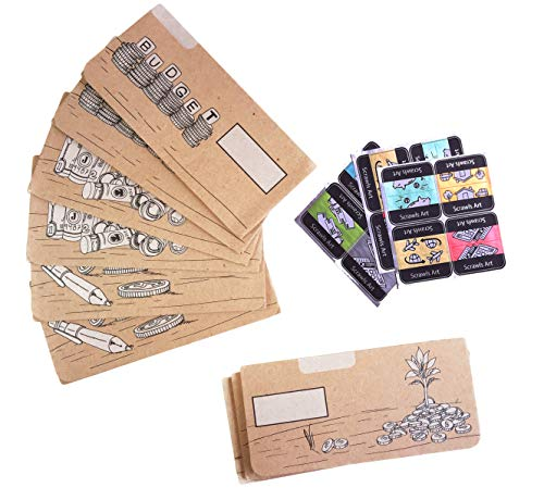(Cash Envelope System for Budgeting and Saving Money by Scrawls Art, 12 Pack - Assorted Designs (Brown Kraft Paper) and Stickers)