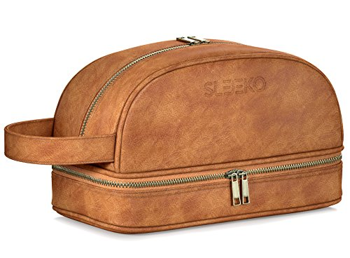 Price comparison product image SLEEKO's Leather Toiletry Bag with Free Leak-proof 2 Bonus Travel Bottles - Water-Resistant Premium Quality Dopp Travel Accessory Kit for Toiletries,Shaving and Grooming Supplies & More