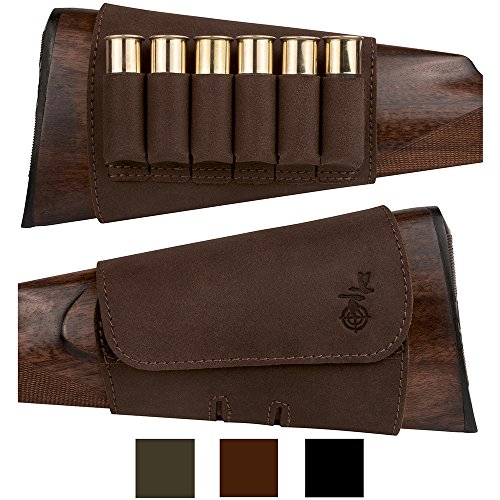 BronzeDog Hunting Buttstock Ammo Cartridge Holder Pouch Velcro Adjustable 12, 16 Ga, Leather Rifle Shell Holder Shotgun Stock Right Handed Black Brown Khaki (Brown)