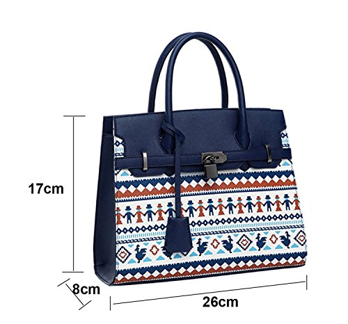 Mygoodie Generic Fashion Women's Cute Priniting Pu Faux Leather Satchel Handbag Tote Shoulder Bag With Zip Pouch