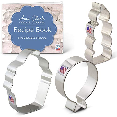 Birthday Cookie Cutter Set with Recipe Booklet - 3 piece - Balloon, Cupcake, Candle - Ann Clark - US Tin Plated Steel