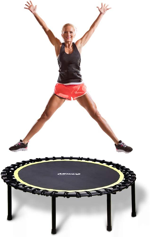 "Newan 40""-48"" Silent Mini Trampoline Fitness Trampoline Bungee Rebounder Jumping Cardio Trainer Workout for Adults"