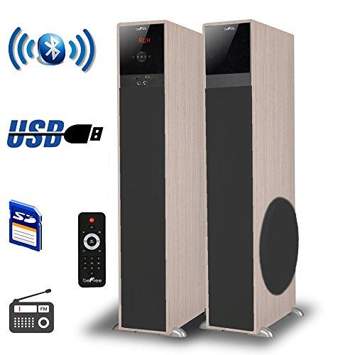 beFree Sound Powered Floor Speakers (Pair) Wood 91595899M