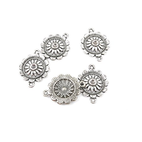- Qty 10 Pieces Ancient Silver Jewelry Making Charms Findings T0669 Flower Connector Joiner Bulk for Bracelet Necklace