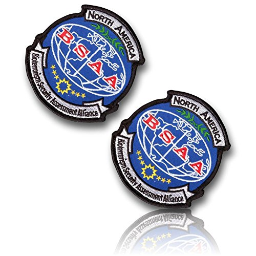 [2 Set Count] Custom and Unique (4'' Inch) Circular Shaped ''North American BSAA Bioterrorism Security Assessment Alliance'' Evil Cosplay Costume Embroidered Sew Iron On Patch {Multicolored} {LICENSED} by 13th Titan