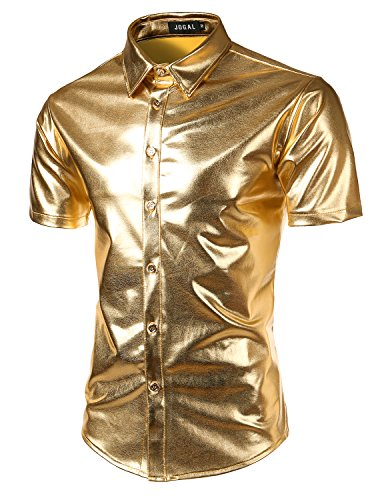 JOGAL Men's Trend Nightclub Styles Metallic Silver Short Sleeve Button Down Shirts Large -