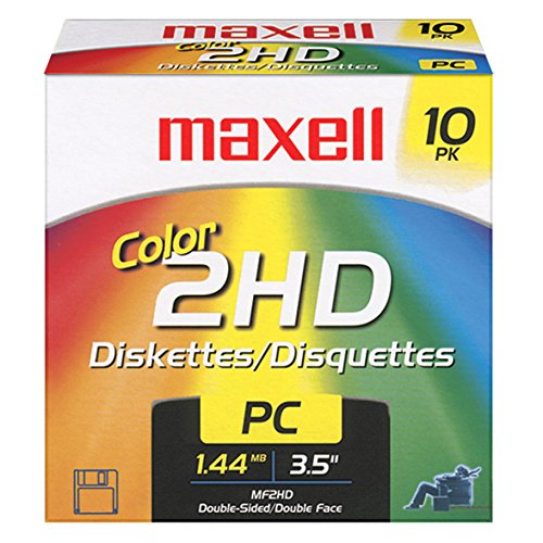 Maxell 3.5 1.44MB IBM MF2HD High Density Preformatted Disk (10-Pack, Assorted ()