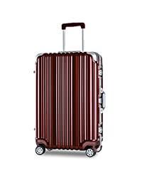 "Merax Travelhouse Aluminium Frame HardShell Luggage TSA Approved Suitcase (20"", Wine Red)"
