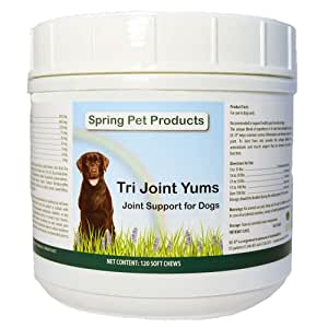 Spring Pet Tri Joint Support Yums with Antioxidants, Glucosamine, Creatine, UC-II, Omega Fatty Acids EPA and DHA and Boswellia Helps Reduce Inflammation for Large Dogs ~ 60 Count Made in USA