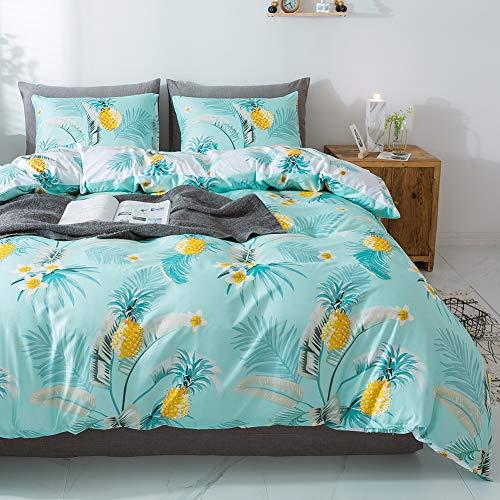 Miffrovn Pineapple Duvet Cover Set Queen(90x90 Inch), 3 Pieces(2 Pillowcases, 1 Duvet Cover) Pineapple Microfiber Bedding Set, Modern Easy Care Duvet Cover for Kids, Girls, Women