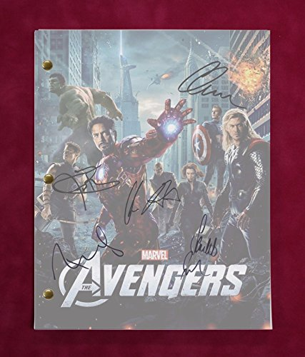 "THE AVENGERS MOVIE SCRIPT W/ REPRODUCTION SIGNATURES DOWNEY JR., EVANS ""C3"""