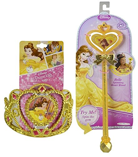 Girl Princess Belle Costume Kit - Beauty and the Beast Costume Accessory - Kids Halloween Costume - Disney - Wand and (Beauty And The Best Costume)