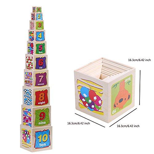 Wondertoys 10 Piece Wooden Nesting Blocks Stacking Cube Boxes Educational Toys for Kids by Wondertoys
