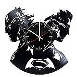 Welcome Everyday Arts Batman Superman Emblem Design Vinyl Record Wall Clock - Get unique bedroom or living room wall decor - Gift ideas for boys and girls – DC Comics Unique Modern Art
