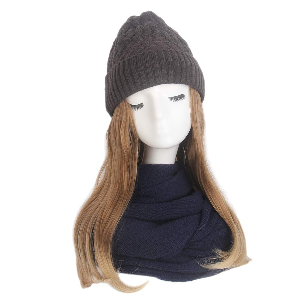 STfantasy Women Slouchy Winter Knit Beanie Hat with Ombre Brown Blonde Long Wavy Synthetic Hair Wig Attached by STfantasy