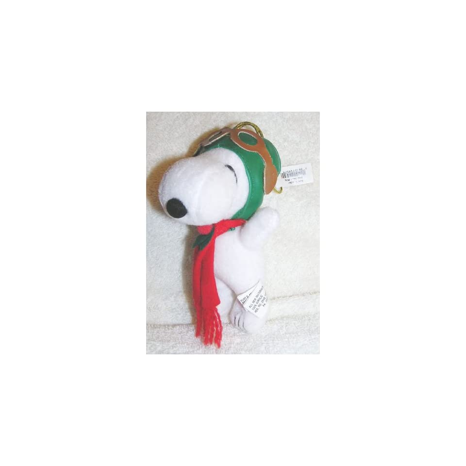 Peanuts 6 Plush Snoopy Flying Ace Pilot Christmas Ornament Doll