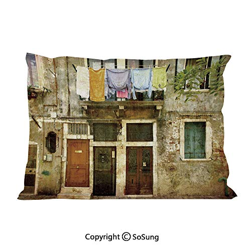 SoSung Venice Bed Pillow Case/Shams Set of 2,Old Weathered Building Facade with Hanged Clothes Murano Island Grunge Architecture Queen Size Without Insert (2 Pack Pillowcase 30