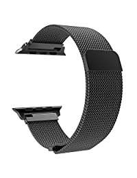 TiMOVO Compatible Band Replacement for Apple Watch 42mm 44mm Series 4/3 / 2/1, Milanese Loop Stainless Steel Bracelet Strap with Unique Magnet Lock - Black