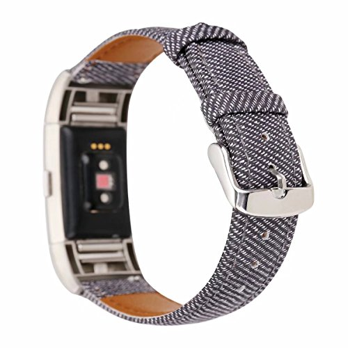 Accessory Cowboy (Magicfeel Fashion Casual Style Cowboy Pattern Replacement Accessories Sport Bands Wristband Bracelet Compatible for Fitbit Charge 2 Fitness Tracker for Women Men Teens (Denim A))