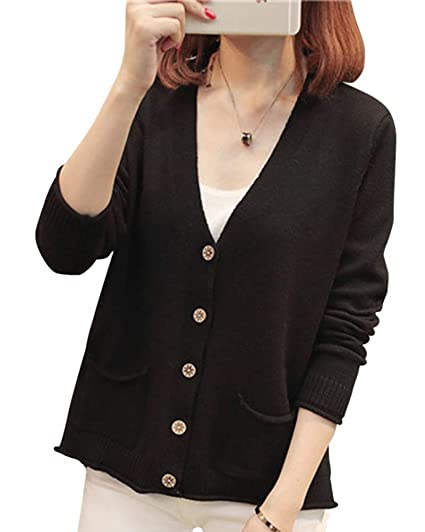 Giacca a maniche lunghe con maniche lunghe in maglia nera con collo a cardigan