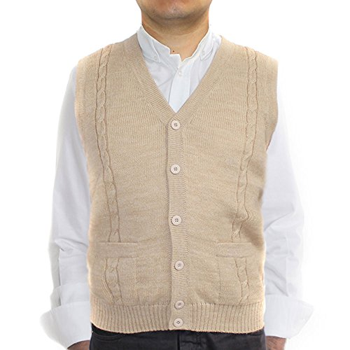 Jersey V-neck Cardigan - ALPACA VEST SWEATER JERSEY with BRIAD V neck buttons and Pockets made in PERU BEIGE XL