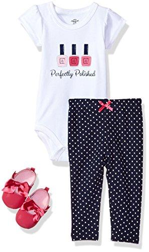 Little Treasure Unisex Baby Bodysuit, Pant and Shoes, Polished, 3-Piece Set, 6-9 Months (9M)