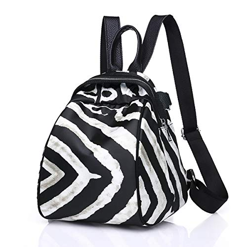 Stylish Zebra Print Backpack Purse Convertible Waterproof Oxford Shoulder Bag Generous Handbag for Women Girls ()