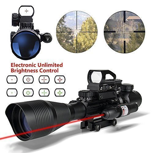 Aipa AR15 Rifle Scope 4-12x50EG Dual illuminated Optics with Holographic 4 Reticle Red and Green Dot Sight for 22&11mm Weaver/Picatinny Rail Mount