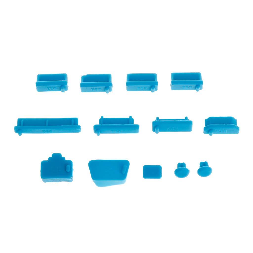 SimpleLife 13Pieces Tappi Anti-Polvere Porta Dati in Silicone Morbido Set di Protezioni USB Prese per Laptop Coperchio Antipolvere Coperchio per Tappi PC Accessori per Notebook per Computer