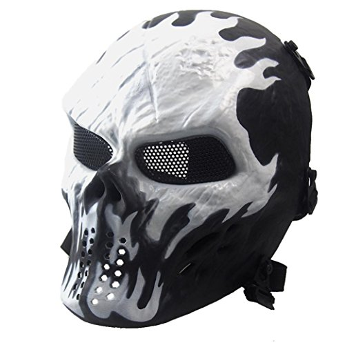Doinshop Halloween Airsoft Paintball Full Face Skull Skeleton Tactical Military Mask (White)