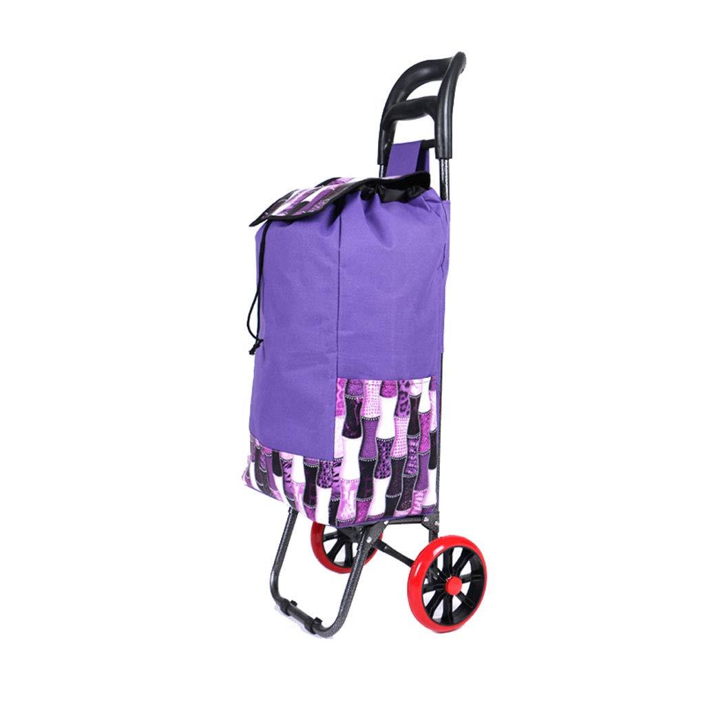 ショッピングカートショッピングトロリーショッピングバッグトロリー荷物カート食料品の折り畳み式カート軽量トロリーリトラクタブルハンドルトロリー B07KG6YRG7