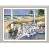 Wicker Porch by Ronald Williams Beach Scene Sandy Shore 19x15 Framed Art Print Picture