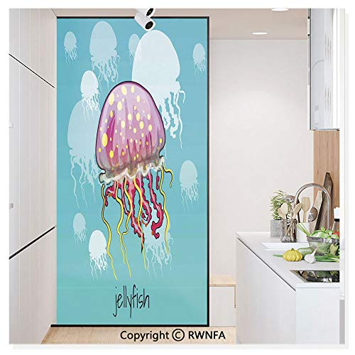 Decorative Window Film,Color Spotted Jellyfish on Aqua Background Silhouettes Decorating Art Nature Static Cling Glass Film,No Glue/Anti UV Window Paper for Bathroom,Office,Meeting Room,Bedroom,Yello