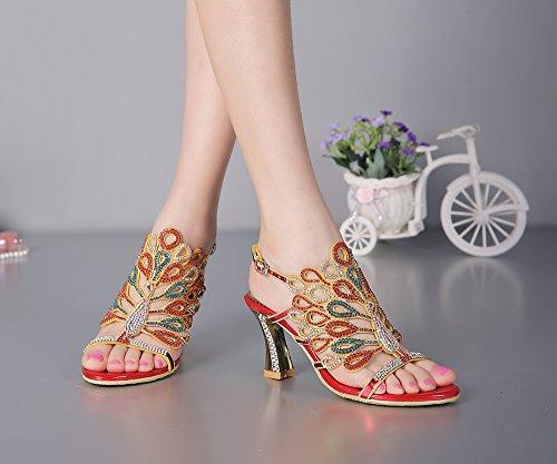 unicrystal Damen Strass Pfau gemustert Spule Ferse handgefertigt Schuhe, Brautjungfer Abend Ball Sandalen Rot