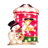 The Christmas Workshop 35 LED Snowman and Post Box Silhouette Light
