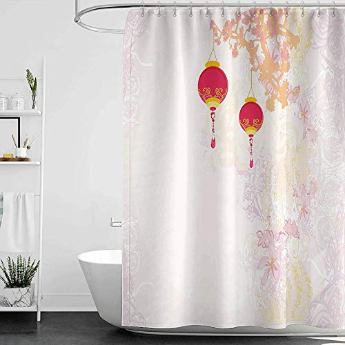homecoco Blue Shower Curtains for Bathroom Lantern,Abstract Image Depicting Chinese New Year Old Paper Celebration Lively Colors,Pink Light Pink W69 x L90,Shower Curtain for Kids