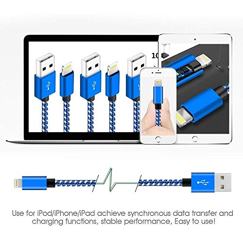 Nylon Braided Cable - USB Data Fast Charge Cable Cords - Blue White, 3-Foot 6-Foot 10-Foot (3-Pack)