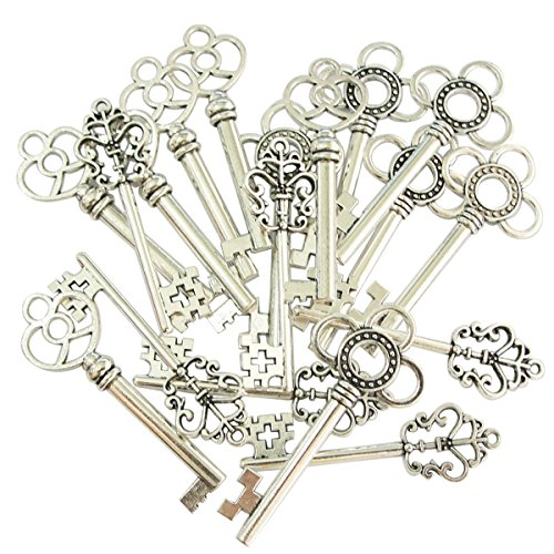 - Mixed Set of 30 Vintage Old Look Skeleton Keys Fancy Heart Bow Necklace Pendants (Silver)