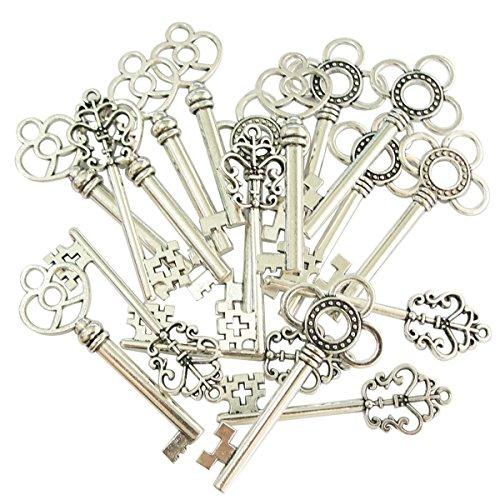 Mixed Set of 30 Vintage Old Look Skeleton Keys Fancy Heart Bow Necklace Pendants (Silver)
