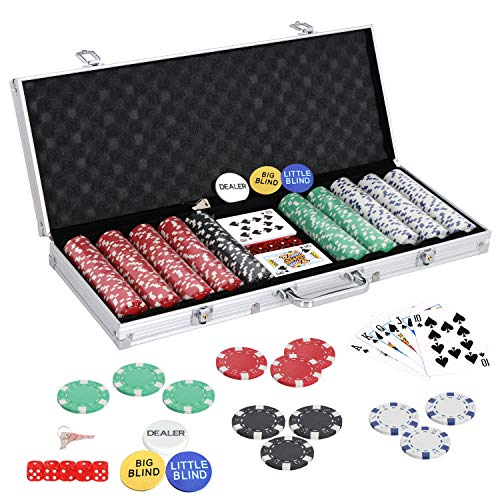 (Nova Microdermabrasion Poker Chips Set for Texas Holdem, Blackjack, Gambling 500 Dice Casino Chips 11.5 Gram with Aluminum Case)