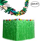 Funnlot Tropical Grass Table Skirts Green with Tissue Flower Luau Hawaiian Party Decorations Supplies Favors (9ft29in)