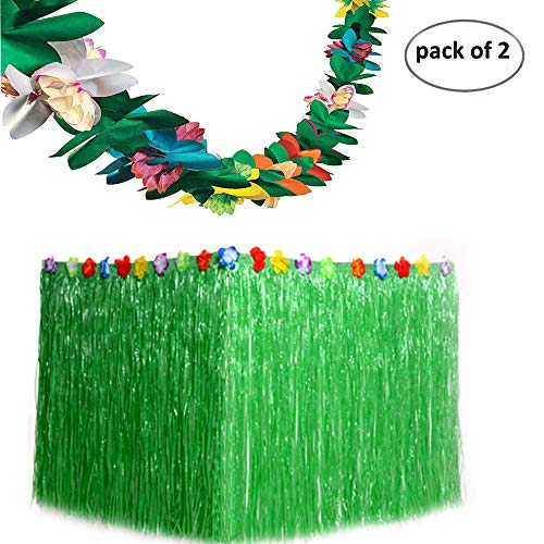 Funnlot Tropical Grass Table Skirts Green with Tissue Flower Luau Hawaiian Party Decorations Supplies Favors (9ft29in) by Funnlot