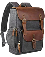 Endurax Leather Camera Backpack for Photographers, DSLR Backpack Bag with Laptop Compartment & Tripod Holder, Waterproof Canvas