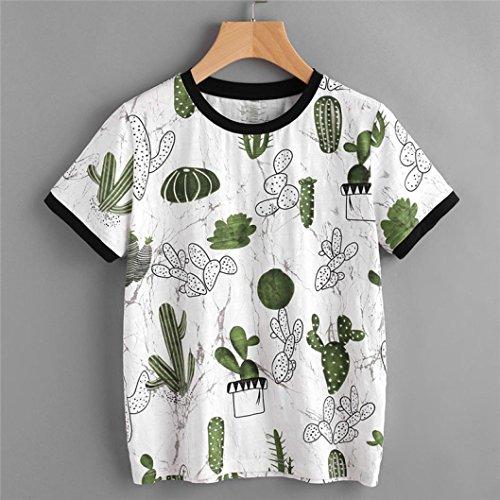 Summer Top,AIMTOPPY Women Summer Short Sleeve Cactus printing T-shirt Blouse Tops (S, - Ralph Email Lauren Polo