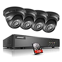 ANNKE 8CH Surveillance System 1080N 5-in-1 DVR Recorder with 1TB Hard Drive and (4) 960P Hi-Resolution Weatherproof Indoor/Outdoor CCTV Cameras, Remote Viewing, Email Alert with Images