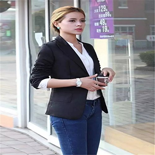Autumn Outwear Women Slim Casual OL Short Suit Coat Jacket (Black) - 3