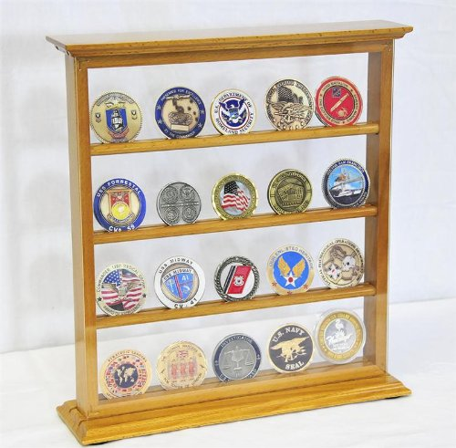 4 Shelves Military Challenge Coin Curio Stand Rack w/ UV Protection Viewing from both side, Oak by sfDisplay