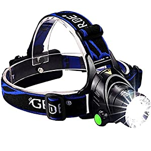 GRDE Zoomable 3 Modes Super Bright LED Headlamp with Rechargeable Batteries, Car Charger, Wall Charger and USB Cable from GRDE